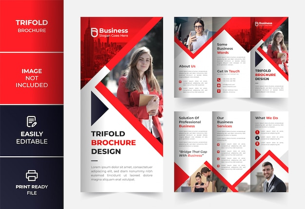 Red corporate business trifold brochure design template