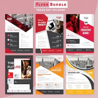 Red corporate flyer bundle brochure template