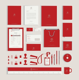 Red corporate identity design template