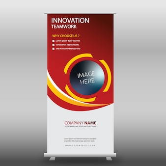 Red corporate roll up template