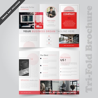 Red corporate tri fold brochure template
