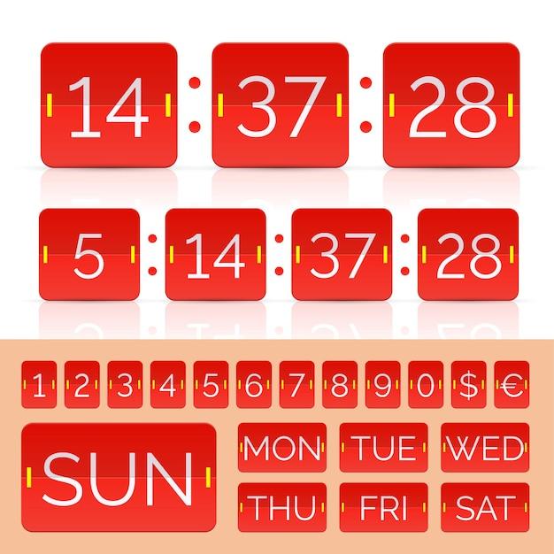 赤いカウントダウンタイマーとスコアボード番号。ベクトルeps10イラスト
