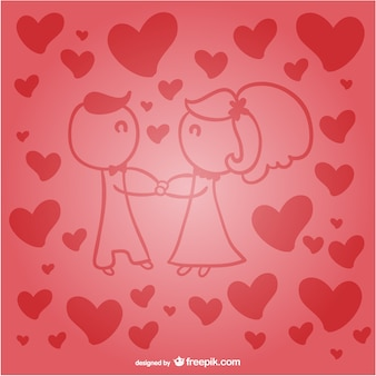Red couple in love surrounded by hearts