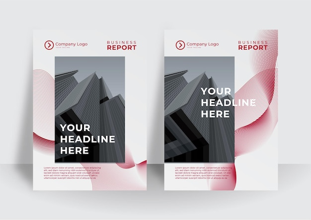 Red cover business brochure vector design, leaflet advertising abstract background, modern poster magazine layout template, annual report for presentation