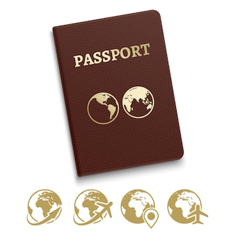 Red cover passport and travel and navigation icons