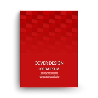 Red cover template design with geometric shapes