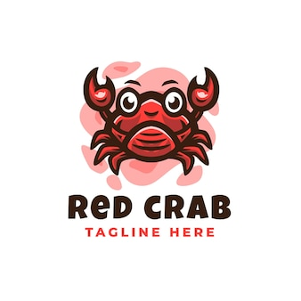Red crab logo design template with cute details