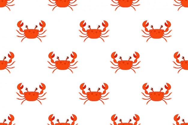 Red crab on a white background. flat character pattern