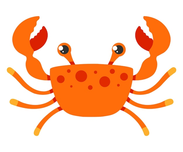 Red crab on a white background. flat character vector illustration