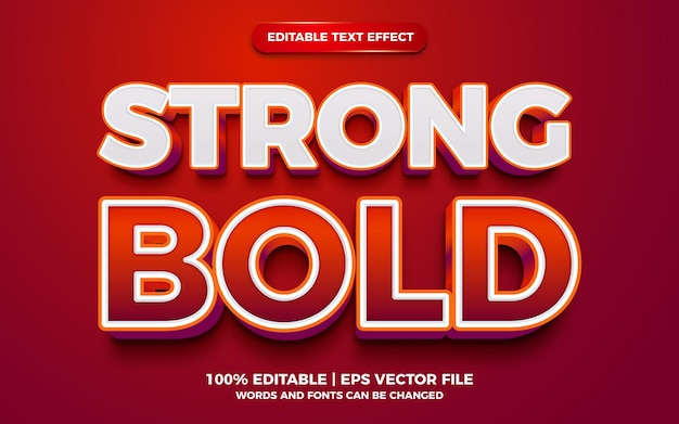 Red creative strong bold 3d editable text effect template