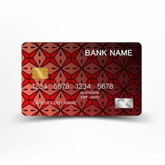 Красный кредитная карта шаблон дизайна.