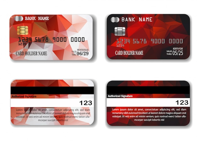 Red credit card template with low poly texture