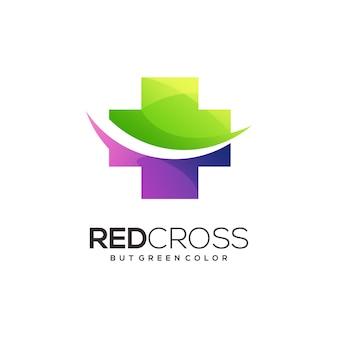 Red cross logo gradient colorful illustration