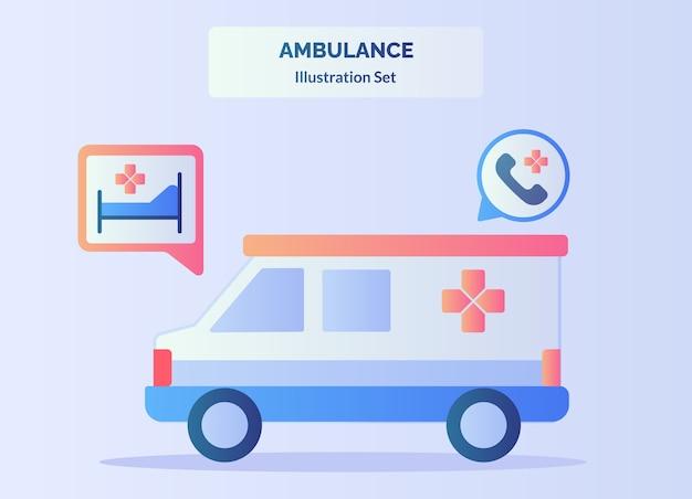 ベッド緊急通報の赤十字バン車の背景