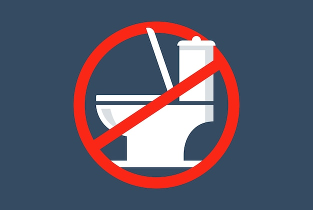Red crossed out toilet sign. toilet prohibition. flat vector illustration.