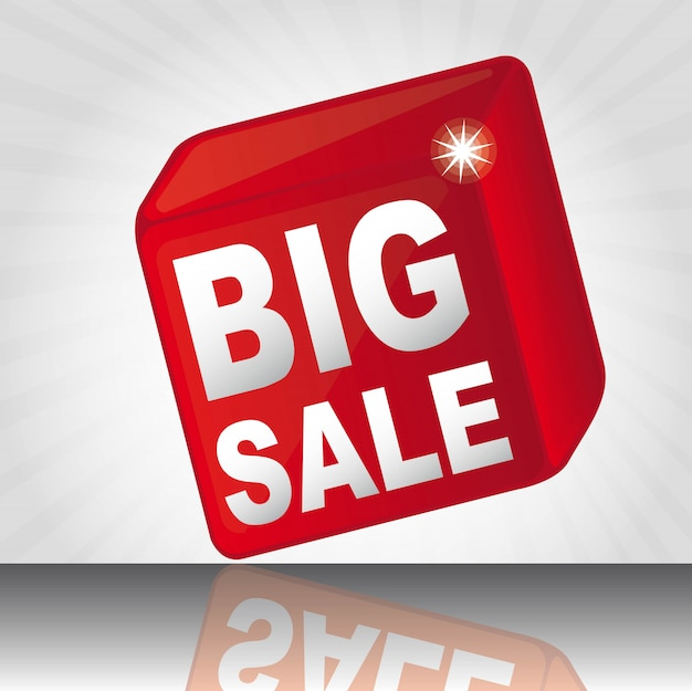 Red cube big sale with shadow over white background vector