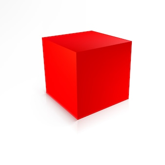 Red cube isolated