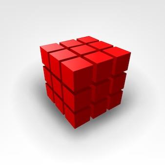 赤いキューブのベクトル図