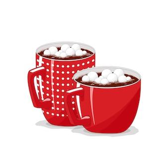 격리 된 흰색 배경에 빨간색 컵입니다. 커피, 카푸치노. 마시멜로와 코코아. 메리 크리스마스.