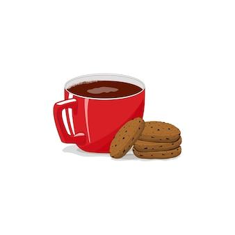 孤立した白い背景の上の赤いカップ。クッキー。コーヒー、カプチーノ、ラテ。おはようございます。