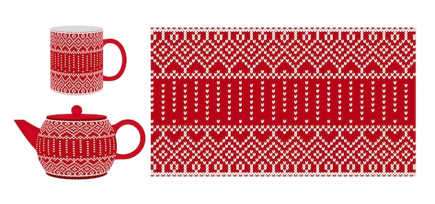 Red cup, teapot with knitting texture. seamless pattern.   illustration.