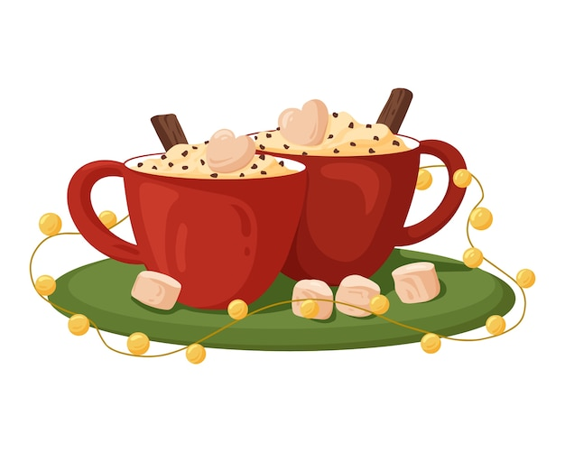 Red cups of coffee with cream marshmallows and cinnamon