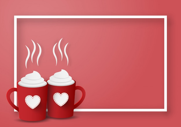 Red cups for couple with blank frame