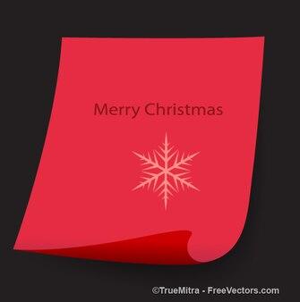 Rosso arricciato striscione di carta con fiocco di neve