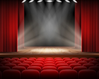 Red curtain and empty theatrical scene