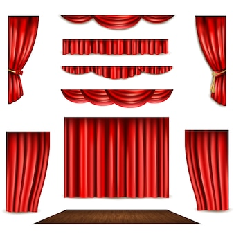 Red Curtain And Stage Icons Set