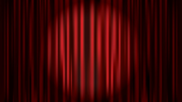 Red curtain backdrop illuminated by spotlight, retro cinema, opera theater stage vector template