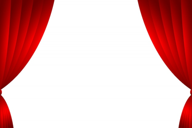 Red curtain backdrop isolated