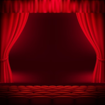 Red curtain or backdrop.