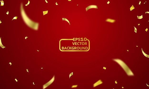Red curtain background. grand opening event design. confetti gold ribbons.