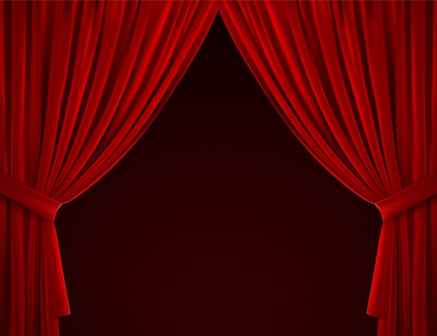 Red curtain background. realistic illustration. textile drapes. folded velvet fabric. decoration element for design.