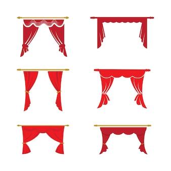 Красный занавес карниз декор внутренней ткани интерьер драпировка текстильный ламбрекен, векторные иллюстрации занавес