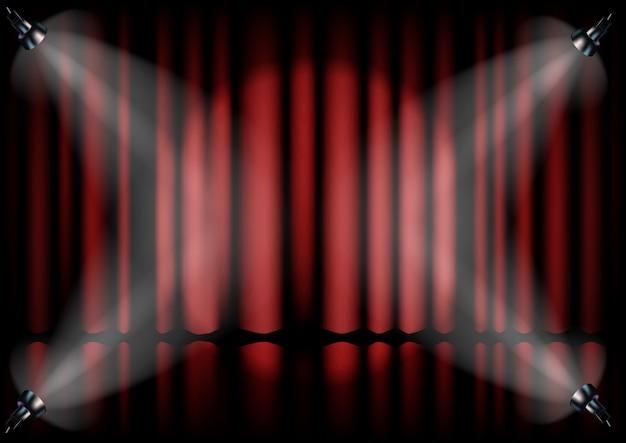 Красный занавес из театра с прожектором