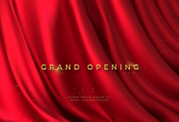 Red curtain and golden lettering grand opening