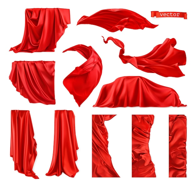 Red curtain ized image. drapery fabric  realistic vector set