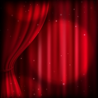 Red curtain and spot light.