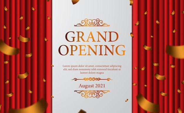 Red curtain stage luxury elegant grand opening with golden confetti banner