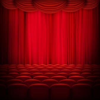 赤いカーテンテンプレート。