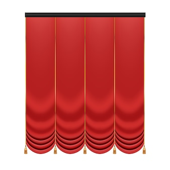 Red curtain to theater stage