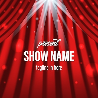 Red curtain with lighting spotlight and title template