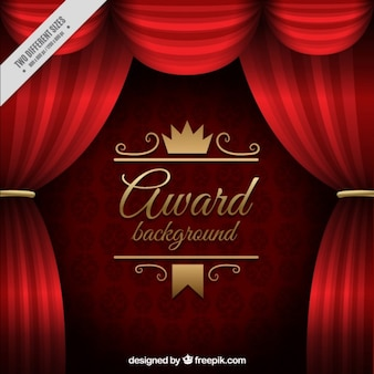 Red curtains award background