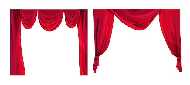 Red curtains cartoon vector illustration theatre or cinema velvet drapes