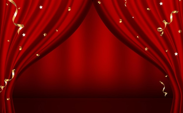 Red curtains open luxury