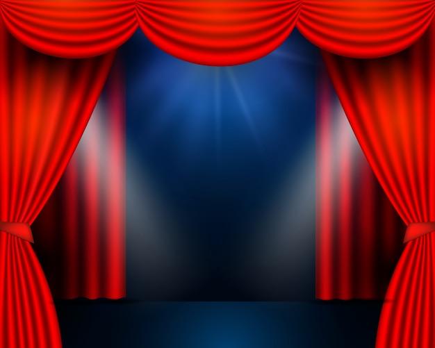 赤いカーテンは劇場のシーンに参加します。劇場の舞台、お祭り、お祝いの背景。輝く舞台照明