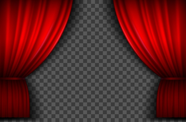 Red curtains. realistic open velvet stage curtain for theatre show, circus or cinema. portiere drapes for premiere ceremony vector template. theater red drapery to decoration, classic luxury velvet