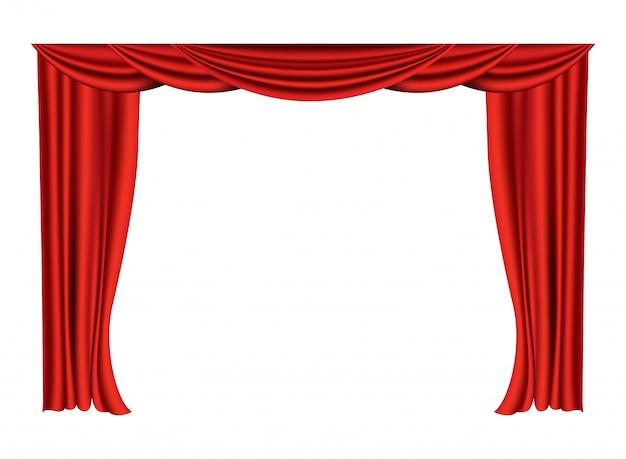 現実的な赤いカーテン。映画館やオペラホールの劇場用生地のシルクの装飾。カーテンやカーテンの室内装飾品。劇場の舞台を白で隔離
